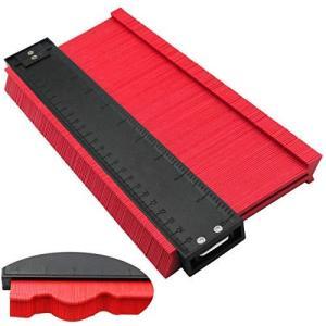 型取りゲージ コンターゲージ 250mm 目盛り付 定規 測量工具 レッド (拡張バージョン 13cm幅)|nobuaki-shop