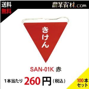 三角旗 きけん(赤) SAN-01K(100枚セット・送料込) nogyo-shizai