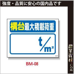まんが標識(PP製) 450×600 BM-08「構大最大積載荷重」 イラスト 標識 建設現場 安全第一 安全衛生|nogyo-shizai