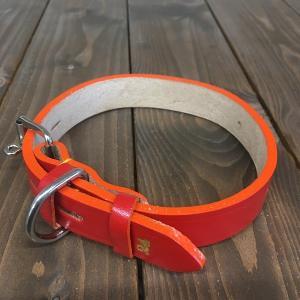 犬用 首輪 中型犬用 革製 サイズ24 レッド AKU-001 《訳あり・少々難あり》|nohohonlibre