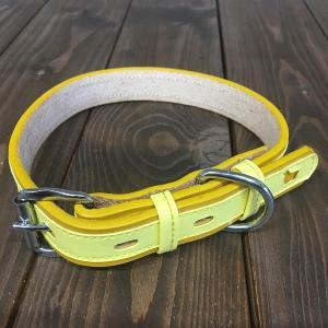 犬用 首輪 中型犬用 革製 サイズ24 イエロー AKU-003 《訳あり・少々難あり》|nohohonlibre