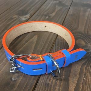 犬用 首輪 中型犬用 革製 サイズ24 ブルー AKU-005 《訳あり・少々難あり》|nohohonlibre