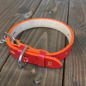 犬用 首輪 中型犬用 革製 サイズ21 AKU-010 《訳あり・少々難あり》