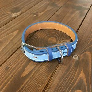 犬用 首輪 大型犬用 革製 サイズ21 ブルー AKU-016 《訳あり・少々難あり》|nohohonlibre