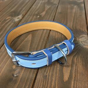 犬用 首輪 大型犬用 革製 サイズ24 ブルー AKU-017 《訳あり・少々難あり》|nohohonlibre