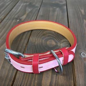 犬用 首輪 大型犬用 革製 サイズ24 ピンク AKU-018 《訳あり・少々難あり》|nohohonlibre