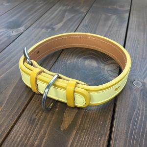 犬用 首輪 大型犬用 革製 サイズ24 イエロー AKU-019 《訳あり・少々難あり》|nohohonlibre