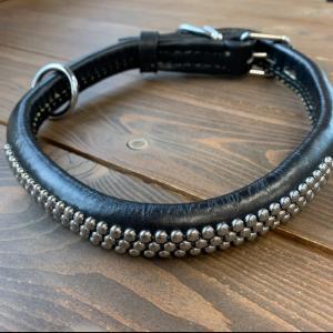犬用 首輪 大型犬用 革製 サイズ60 黒 AKU-021 《訳あり・少々難あり》|nohohonlibre