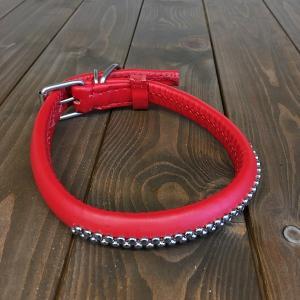 犬用 首輪 大型犬用 革製 サイズ50 赤 AKU-024 《訳あり・少々難あり》|nohohonlibre