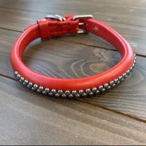 犬用 首輪 大型犬用 革製 サイズ45 赤 AKU-026 《訳あり・少々難あり》|nohohonlibre