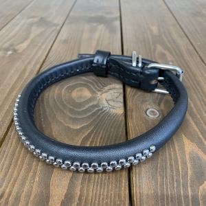 犬用 首輪 大型犬用 革製 サイズ45 黒 AKU-029 《訳あり・少々難あり》|nohohonlibre