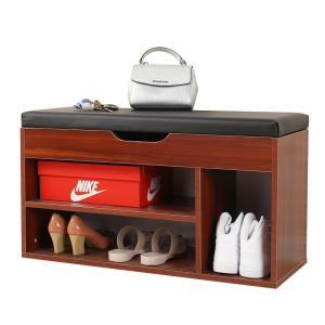 アウトレット未組立・未開封/玄関ベンチスツール 収納付き 玄関いす/椅子 ベンチ 木製 靴収納 ブラウン