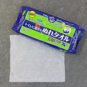 アクティ トイレに流せる ぬれタオル 大判・厚手 21.5×20cm 74枚 (片手でらくらく取出し口ストッパー)|nomad