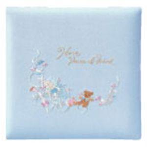 ベビーアルバム 出産祝い 名入れ アーデント おやすみ赤ちゃんとクマさん L判 ブルー アルバム No. 105080|nomado1230