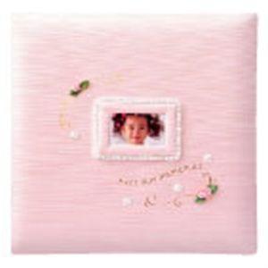 ベビーアルバム 出産祝い 名入れ アーデント フラワー写真ポケット付き L判 ピンク アルバム No. 118060|nomado1230