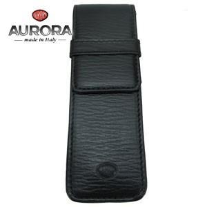 ペンケース 革 名入れ アウロラ 即日発送R かぶせ式 トリノ101 ペンケース 2本用 ブラック TORINO101BK nomado1230