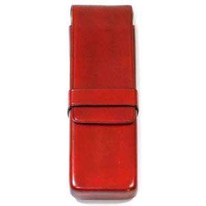 ペンケース 革 名入れ イル・ブセット シームレス 縫い目なし ペンケース 2本用 レッド No. 7815105|nomado1230