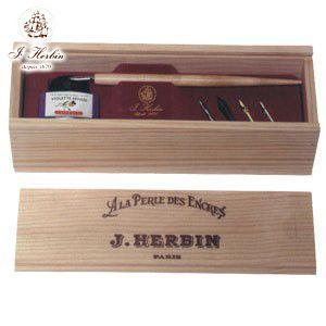 つけペン ギフト エルバン セット・コフレ ナチュラルウッドコフレ 木製ペン・ペン先・インクセット HB27077|nomado1230