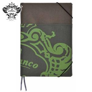 ノートカバー A5 オロビアンコ A5サイズ 外ポケット付 ノートカバー グリーンカーキ THV-KN07G|nomado1230