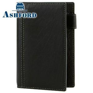 システム手帳 マイクロ5 革 アシュフォード ディープ M5サイズ 11ミリ システム手帳 ブラック 2084-011|nomado1230