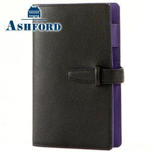 アシュフォード リフィールプレゼント 名入れ無料 ビバーチェ バイブル 15ミリ ベルト システム手帳 ブラック×パープル|nomado1230