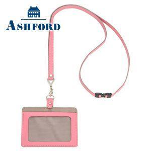 IDカードケース 革 名入れ アシュフォード ビバーチェ IDカードホルダー ピンク×トープ No. 8491-461|nomado1230