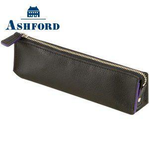 ペンケース 革 名入れ アシュフォード ビバーチェ ペンケース ブラック×パープル 8608-178 8608|nomado1230
