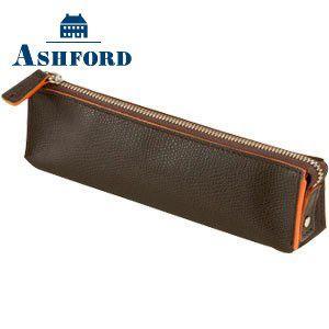 ペンケース 革 名入れ アシュフォード ビバーチェ ペンケース ブラウン×オレンジ 8608-284 8608|nomado1230