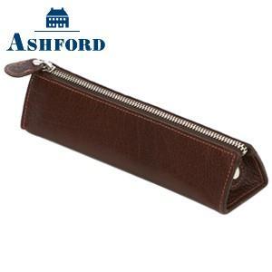 ペンケース 革 名入れ アシュフォード ディープ ペンケース ブラウン No. 8662-022|nomado1230