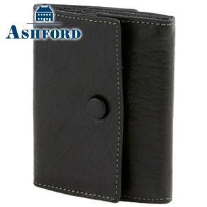 コインケース レディース 革 名入れ アシュフォード ディープ コインレット ブラック 8713-011|nomado1230