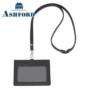IDカードケース 革 名入れ アシュフォード キャロル IDカードホルダー ブラック 8772-011 nomado1230