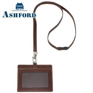 IDカードケース 革 名入れ アシュフォード ディープ IDカードホルダー ブラウン No. 8774-022|nomado1230