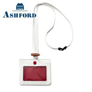 IDカードケース 革 名入れ アシュフォード レッドサークル IDカードホルダー ホワイト 8779-001|nomado1230