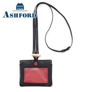 IDカードケース 革 名入れ アシュフォード レッドサークル IDカードホルダー ブラック 8779-011|nomado1230