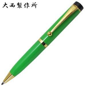 高級 ボールペン 名入れ 大西製作所 セルロイド BP350 カラー 平天冠 ミニボールペン ライトグリーン ONBP350MILGR|nomado1230