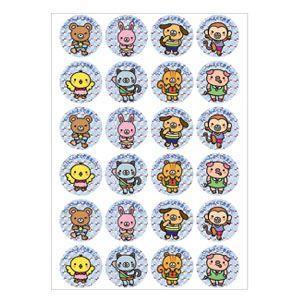 ごほうびシール キラキラ オキナ パリオシール はげましシール・ホロフラムシール キャラクター 直径25ミリ 48片入 10個セット PS753 nomado1230
