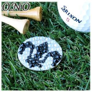カフス ONO (オーエヌオー) リアンポルテ スワロフスキー デコ 大 フレアWH ゴルフマーカー ゴールドPT RS-G01-GFR01|nomado1230