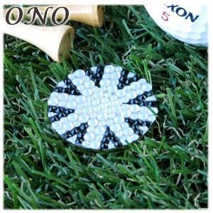 カフス ONO (オーエヌオー) リアンポルテ スワロフスキー デコ 大 ユニオンジャックBW ゴルフマーカー ゴールドPT RS-G01-GUN01|nomado1230