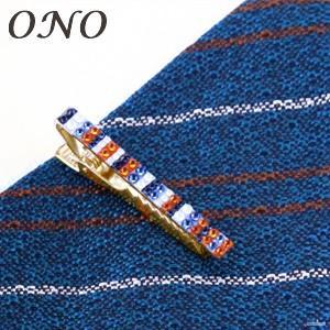 タイピン ONO (オーエヌオー) リアンポルテ スワロフスキー デコ ワニ口 サマーストライプWO ネクタイピン ゴールドPT RS-N07-GST01|nomado1230