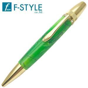高級 ボールペン 名入れ エフスタイル (F-STYLE) Acrylic&Ring スワロフスキーTop ボールペン グリーン TAS1700GR|nomado1230
