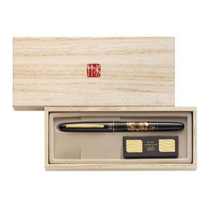 万年毛筆 筆ペン 高級 クレタケ くれ竹 蒔絵物語 万年毛筆 扇面 赤 DU181-115|nomado1230|02