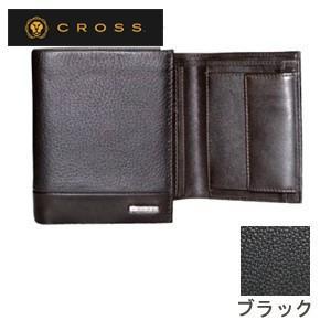 メンズ 3つ折 財布 革 名入れ クロス FV ノースウォレット ブラック AC028008-1|nomado1230
