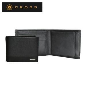 メンズ 2つ折 財布 革 名入れ クロス FV ウエストウォレット ブラック AC028166-1|nomado1230