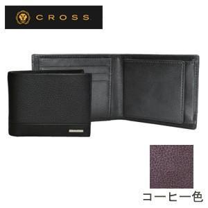 メンズ 2つ折 財布 革 名入れ クロス FV ウエストウォレット コーヒー AC028166-2|nomado1230
