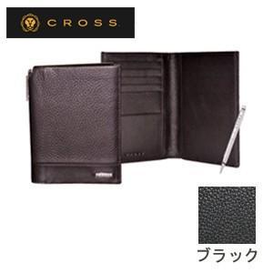 メンズ 2つ折 財布 革 名入れ クロス FV パスポートウォレット ブラック AC028173-1|nomado1230
