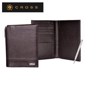 メンズ 2つ折 財布 革 名入れ クロス FV パスポートウォレット コーヒー AC028173-2|nomado1230