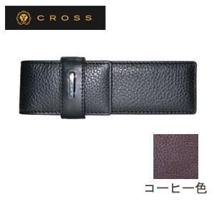 ペンケース 革 名入れ クロス FV ダブル ループペンケース コーヒー AC028184-2|nomado1230