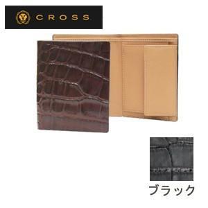 メンズ 3つ折 財布 革 名入れ クロス ココ・バイ・カラー ノースウォレット ブラック AC058008-1|nomado1230