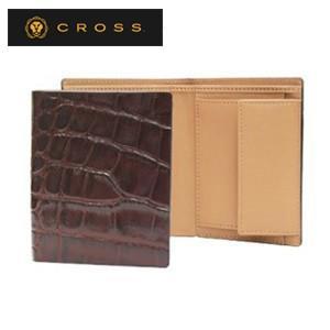 メンズ 3つ折 財布 革 名入れ クロス ココ・バイ・カラー ノースウォレット ブラウン×キャメル AC058008-2|nomado1230