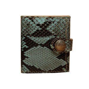 メンズ財布 革 名入れ ケイシーズ(KCs) エキゾチック デスペラード ターコイズ パイソン ビルフォールド KIB101TQ|nomado1230